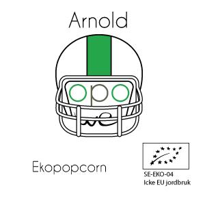 Arnold: stark och snäll Ett starkt popcorn i bemärkelsen att det kan lyfta mycket skrot :-) Det har en god smak som håller länge. Det är också ett ekologiskt popcorn. Arnold rekommenderas till underbara verklighetsbaserade polisserier såsom the Wire och Narcos.