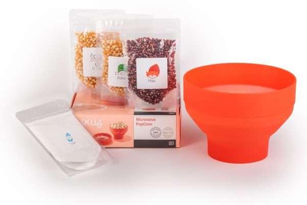 Bild på micropopcornskål och den lilla popcornupplevlesen- Börja poppa popcorn enkelt med en micropopcornskål